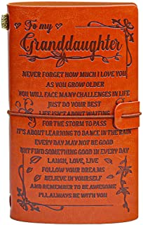 To My Granddaughter Leather Journal - - I'LL ALWAYS BE WITH YOU- Gifts for Granddaughter 136 Page Travel Diary Journal Ske...