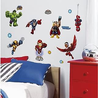 Marvel Superhero Comic - The Avengers X-Men Super Hero Squad Wall Decals - Spider-Man, Iron-Man, Thor, Wolverine, Fantastic 4, Captain America, Hulk, Silver Surfer