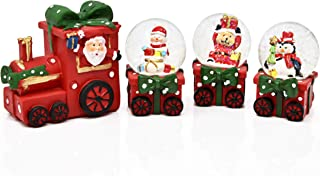 Gift Boutique Christmas Train Snow Globe Decoration 4 Piece Glitter Dome Water Globes Santa Snowman Winter Tree Glass Ball Collectible Table Decor