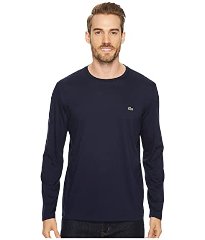 Lacoste Long Sleeve Pima Jersey Crew Neck T-Shirt (Navy Blue) Men