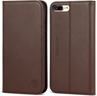 SHIELDON iPhone 7 Plus Case, Genuine Leather iPhone 8 Plus Wallet Folio Magnetic Case with Kickstand and Credit Card Slots Shockproof Case Compatible with iPhone 8Plus and 7Plus - Coffee Brown