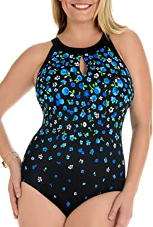 aff85c1bfff Longitude Blue Garden of Eden Keyhole High Neck One Piece Swimsuit Size 10