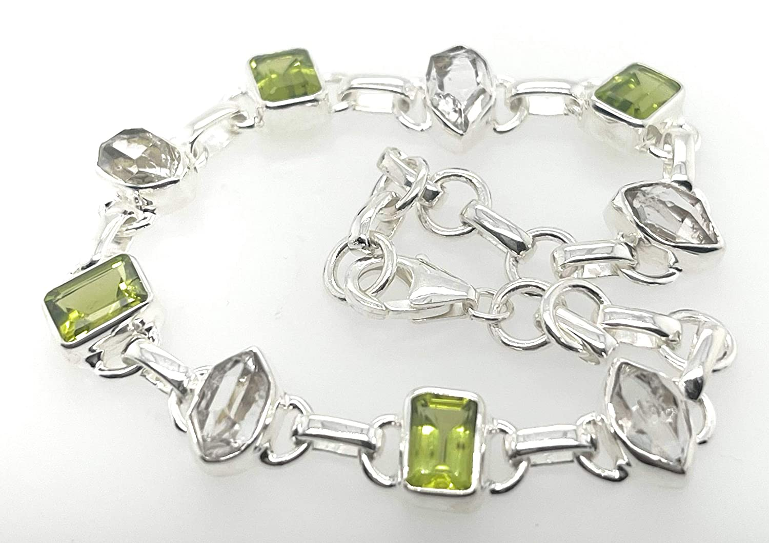 Natural Peridot Herkimer Diamond 925 Brac Sterling Solid Silver In a popularity Portland Mall