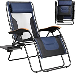 Portal Patio Lounge Chair, Mesh Back Zero Gravity Chair Oversized with Lumbar Support Pillow and IDE Table, Lounge Recline...