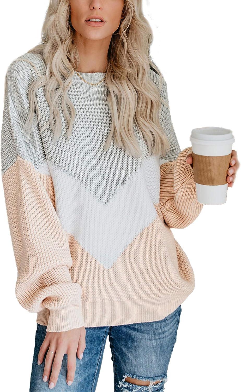 Relipop Women's Knitwear Jumper Crewneck Baggy Long Sleeve V-Shape Color Block Loose Knit Pullover Sweater