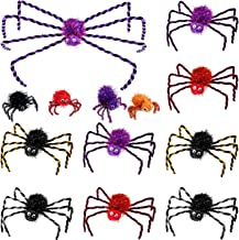 13 Pieces Halloween Spider Decorations Fake Hairy Spiders Colorful Spider Plush Toy for Halloween Supplies, Various Sizes ...