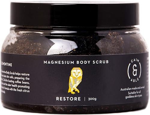 Caim & Able Magnesium Body Scrub 300g RESTORE - Coffee & Clementine - Magnesium Sulphate Virgin Coffee Daintree Rainf...
