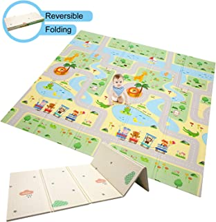 Baby Play Mat Foldable Baby Playmat Extra Large Foam Mat Reversible Baby Crawling Mat, Non Toxic Waterproof for Kids Toddler Infants (Forest Maze + Jungle Animal)