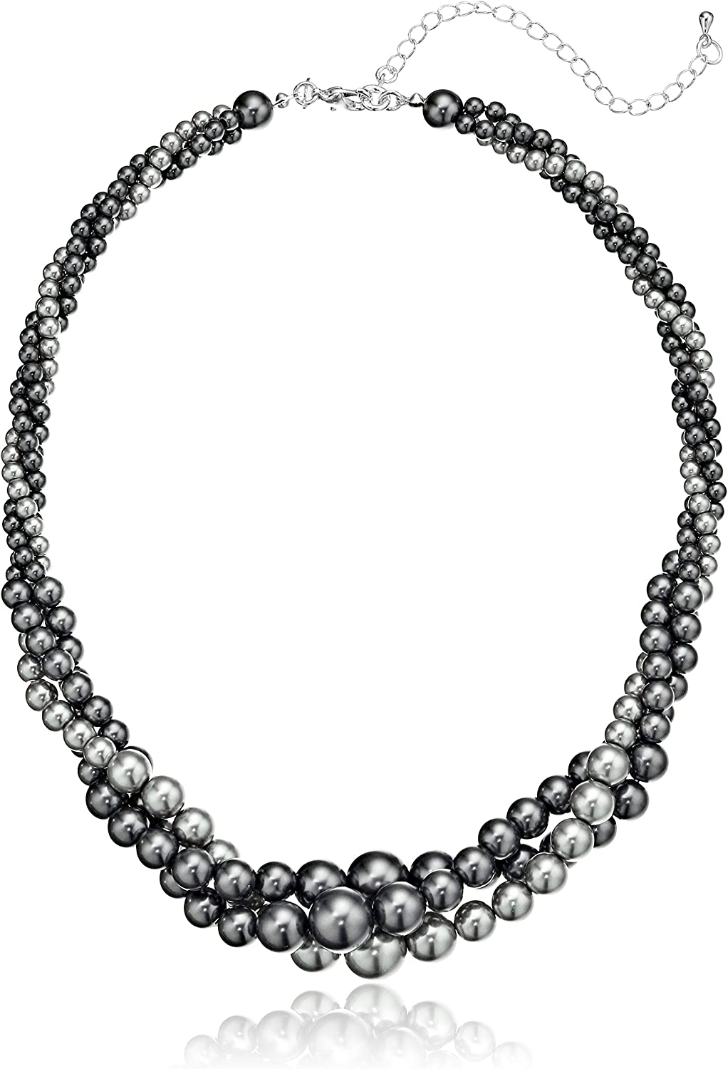 Gold Tone Grey Simulated Three Strand Twisted Pearl Necklace, 18 + 2