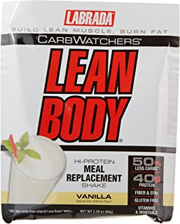 Labrada Nutrition Carb Watchers Lean Body Hi-Protein Meal Replacement Shake, Vanilla Ice Cream, 2.29-Ounce Packets (Pack of 20)
