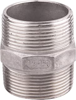 Hex Nipple 1 1/2 Inch Male NPT - DERPIPE Stainless Steel 304 Threaded Pipe Fitting for Brew Kit, Home Piping Application