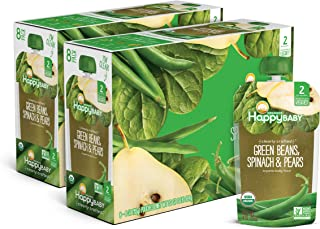 Happy Baby Organic Clearly Crafted Stage 2 Baby Food Green Beans, Pears & Spinach, 4 Ounce Pouch (Pack of 16)