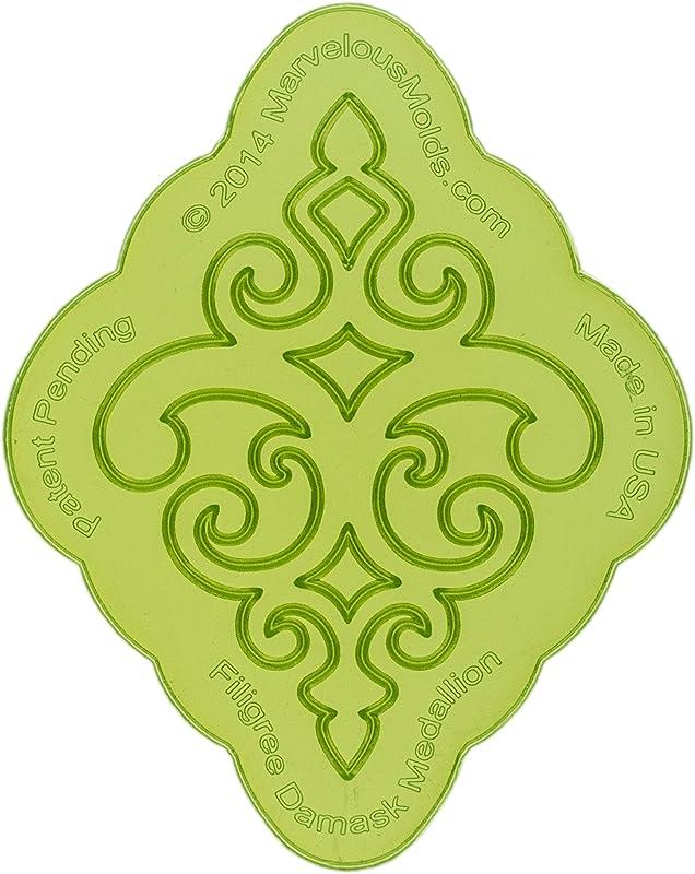 Marvelous Molds Filigree Damask Medallion Silicone Onlay