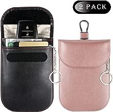 Teskyer Car Key Signal Blocker Case, Car Key Fob Signal Blocking Bag, Faraday Bag RFID Key Fob Antitheft Lock Devices RFID/WiFi/GSM/LTE/NFC Protector(2Pack,1Black+1 Rose Gold)