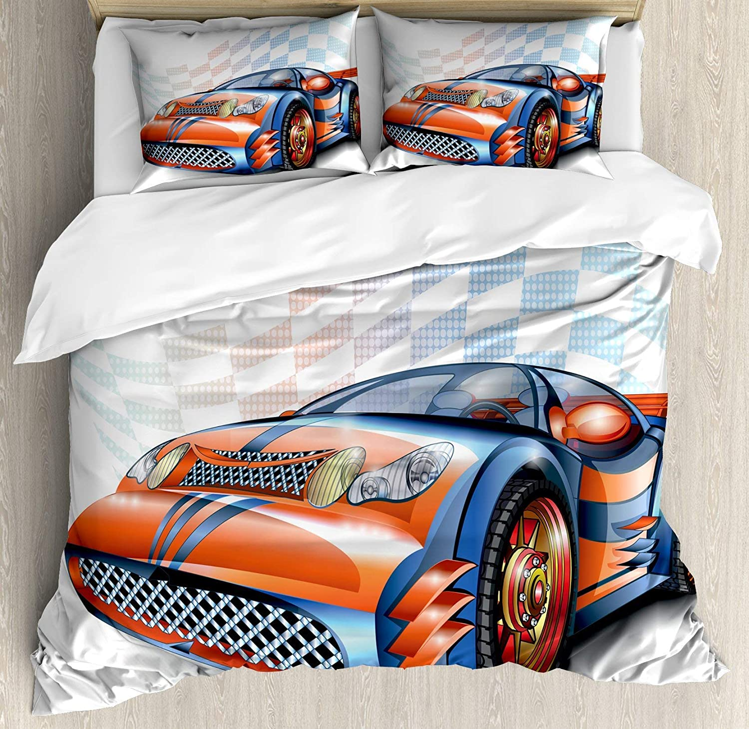 Cars 4pc Bedding Set Full Size, Cartoon Style Speeding Racing Car Event Championship Racetrack Victory Drive Floral Lightweight Microfiber Duvet Cover Set, orange bluee Black
