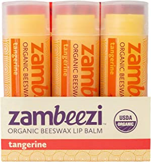 Beeswax Lip Balm by ZAMBEEZI - Tangerine 3 pack - Crafted with USDA Certified Organic, Fair Trade, lip refreshing ingredie...