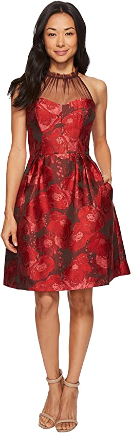 Maggy London - Poppy Jacquard Halter Fit & Flare Dress
