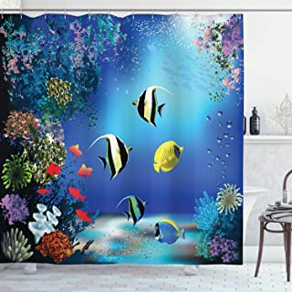 Ambesonne Underwater Shower Curtain, Tropical Undersea with Colorful Fishes Swimming in The Ocean Coral Reefs Artsy Image, Fabric Bathroom Decor Set with Hooks, 70