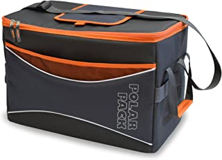 POLAR PACK Extra Large 48 Can Collapsible Cooler Bag Soft Portable Insulated Picnic Bag Outdoor Indoor Travel Lunch Bag for Camping Hiking Events Travel Concerts & Sports (Black/Char/Orange)