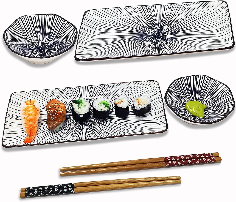 Voaesdk 6 PCS Sushi Plate Set Chicago Mall Gifts Dish Japanese Style Ceramic