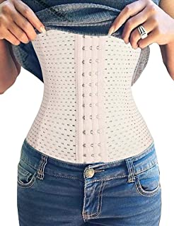 Youloveit Women's Waist Trainer Corset for Weight Loss Steel Boned Tummy Control Body Shaper with Adjustable Hooks