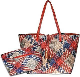 Mentor Tote Bag Roomy Soft Leather Large Shoulder Bags Women Waterproof Woven Handbag Capacity 2PCS