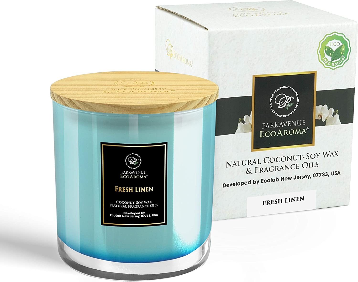 Lavender /& Vanilla Veggie Wax and Fragrance Oils 12 Oz Each Scented Frosted Jar Candles Natural Soy EcoCandles ParkAvenue EcoAroma Glass Jar Candles