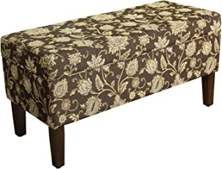 HomePop Upholstered Storage Bench with Hinged Lid, Black Tan Damask