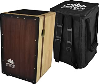 Echoslap Solid Siam Oak Bass Cajon -Vintage Dark, Deep Bass Tones, 3 Snare Wires for Crisp Buzz