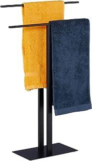 Relaxdays Wieszak na ręczniki, 2 drążki, wolnostojący, łazienka, żelazo, podwójny wieszak na ręczniki (wys. x szer. x g...
