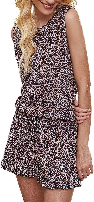Women's Jogger Sportswear Set Activewear Print Sleeveless Pajama Set Night Lounge Top Short Sleepwear