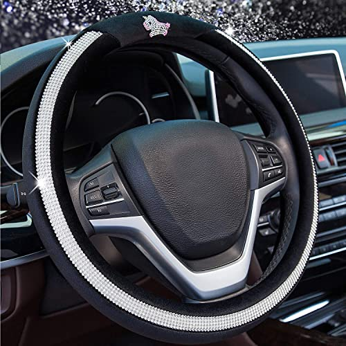 new arrival Valleycomfy high quality Diamond Steering Wheel Cover for Women Girls, Winter outlet sale Warm Plush Car Wheel Cover with Bling Crystal Rhinestones, Universal Fit 15 Inch Anti-Slip Wheel Protector, Black outlet sale