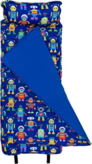 Wildkin Original Nap Mat with Pillow for Toddler Boys and Girls, Ideal for Daycare and Preschool, Measures 50 x 1.5 x 20 Inches, Mom's Choice Award Winner, BPA-Free, Olive Kids (Robots)