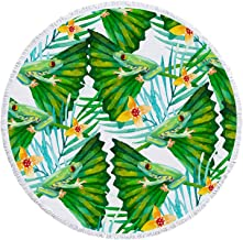 """Yeacun Large & Thick Frog Round Beach Towel Pool Towel with Fringed 59"""" Ultra Soft Super Water Absorbent Circle Blanket ,M..."""