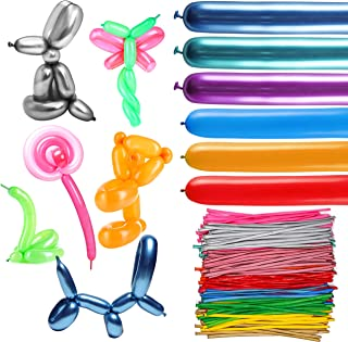 WATINC 200pcs Long Balloons, Assorted Color Latex Modeling Twisting Balloons for Sculpting Balloon Animals, 260Q Magic Balloons for Animal Shape Party Supplies, Premium Balloons for Birthday Party