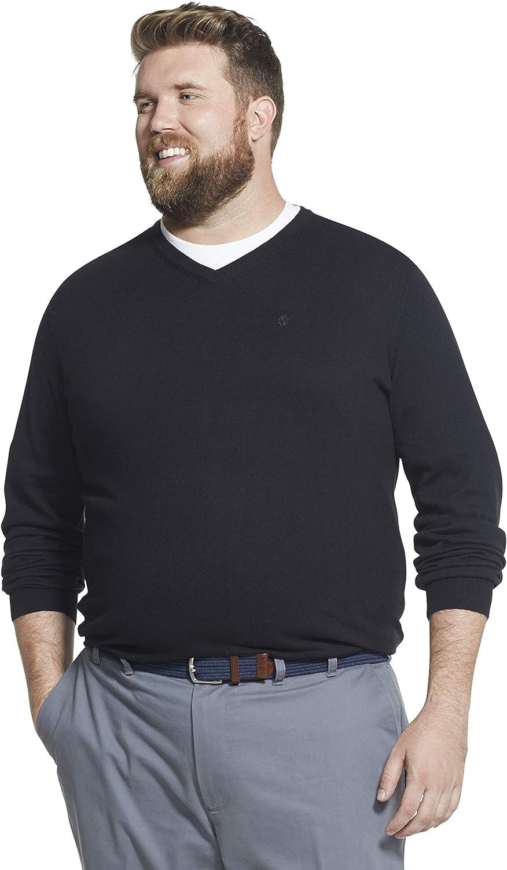 IZOD Men's Big and Tall Premium Essentials Solid V-Neck 12 Gauge Sweater