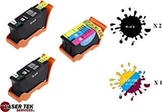 Laser Tek Services Compatible Ink Cartridge Replacement for Dell Series 21 22 23 330-5275 330-5274 (Black, Tri-Color, 3-Pack)