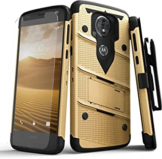 ZIZO Bolt Series Compatible with Moto e5 Cruise Case Military Grade Drop Tested with Tempered Glass Screen Protector Holster e5 Play Gold Black