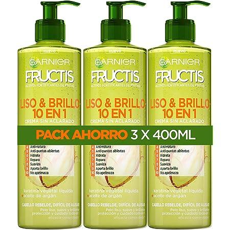 Garnier Fructis Pack Crema de Peinado Sin Aclarado Liso & Brillo 10 en 1, Antihumedad y Antiencrespamiento, Para Cabello Liso y Rebelde, 3 x 400 ml