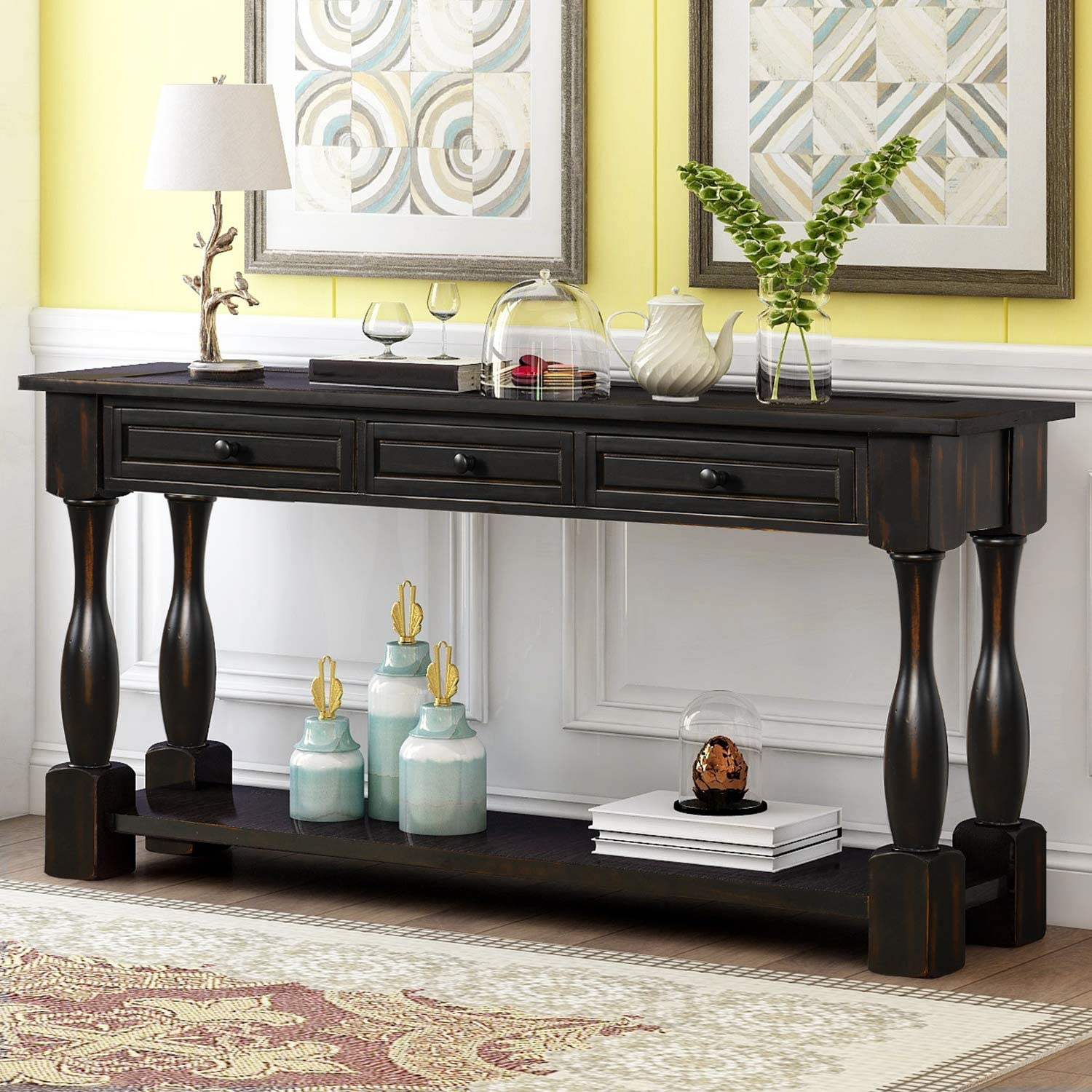 """LUMISOL 64"""" Long Shipping included Console Table Award with Sh Drawers and 3 Bottom"""