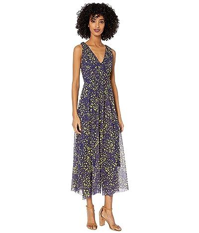 FUZZI Sleeveless V-Neck Poppy Print Dress (Blueberry) Women