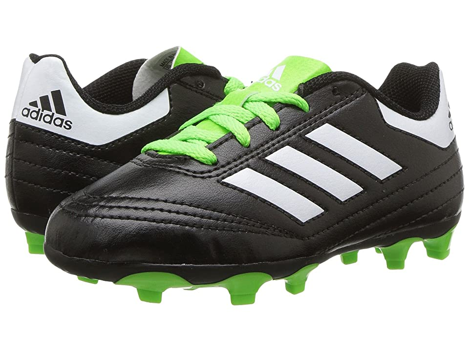 adidas Kids Goletto VI FG Soccer (Little Kid/Big Kid) (Core Black/Footwear White/Solar Green) Kids Shoes