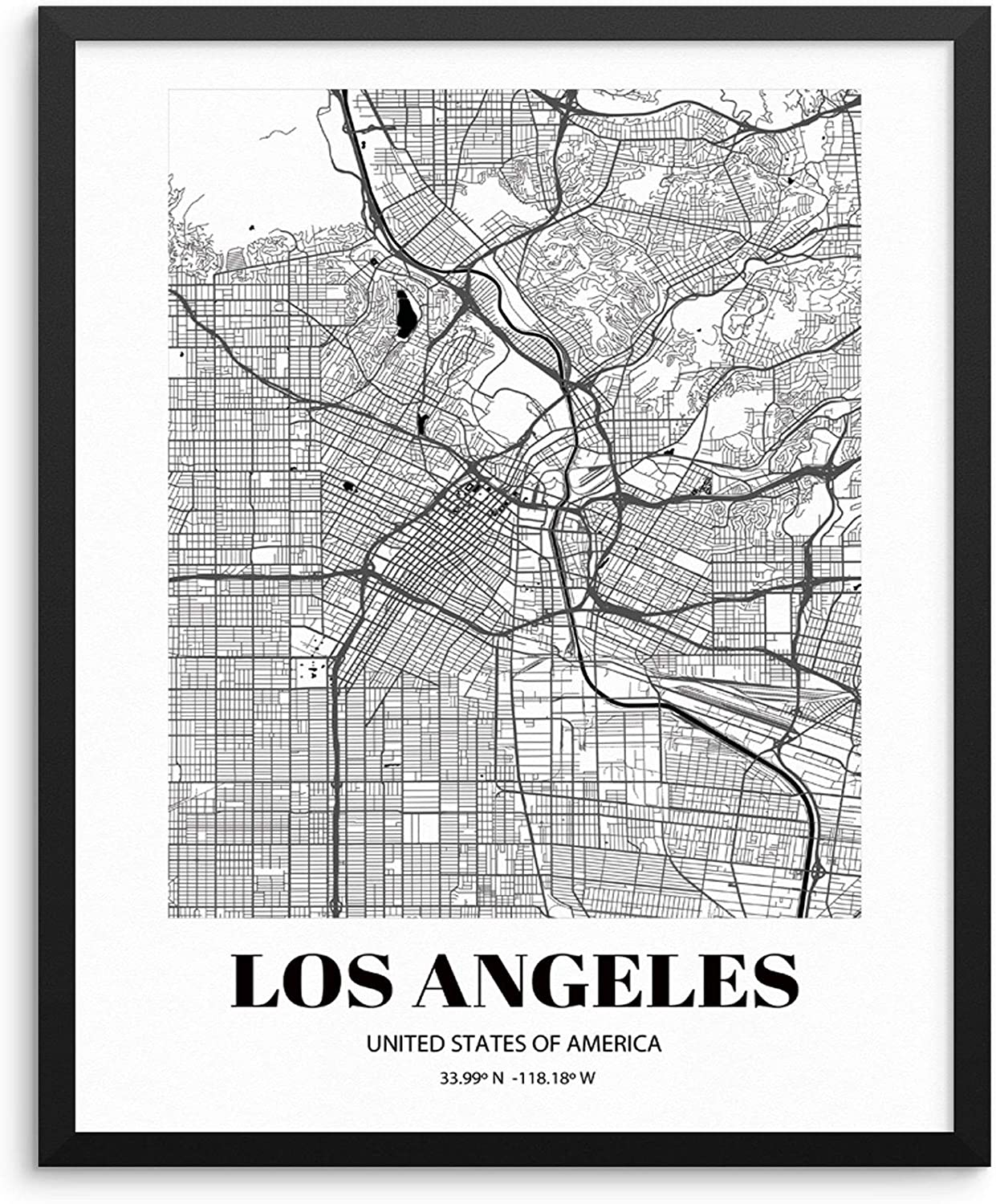 Los Angeles City Grid Map Art Print Cityscape Road Map Wall Poster 20