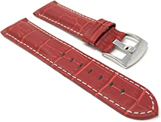 20mm - 22mm Alligator Style Universal Smartwatch Band Strap, Leather, White Stitch