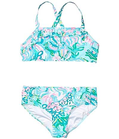 Lilly Pulitzer Kids Caia UPF 50+ Bikini (Toddler/Little Kids/Big Kids) (Blue Ibiza Aqua La Vista) Girl