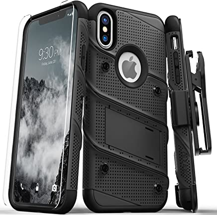 Zizo Bolt Series Compatible with iPhone Xs Max case Military Grade Drop Tested with Tempered Glass Screen Protector, Holster, Kickstand Black/Black