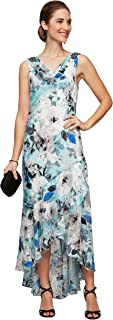 Alex Evenings Women's Tea Length Printed Chiffon Dress with Shawl