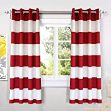 DriftAway Mia Stripe Room Darkening Grommet Unlined Window Curtains 2 Panels Each 52 Inch by 63 Inch Red