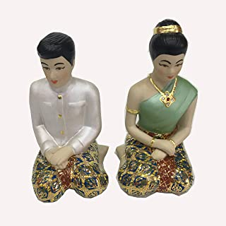 Thai Traditional Dolls Wedding Couple Bride Groom Marriage Benjarong Porcelain Handmade Handicraft Miniature Home Decor Collectible Vintage Gift Engagement Male Female Statue Figurine 4.5