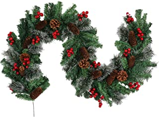 Aonewoe Christmas Garland with Red Berry Clusters Pine Cones 6Ft Natural Greenery Pine Garland for Christmas Decoration (Red)